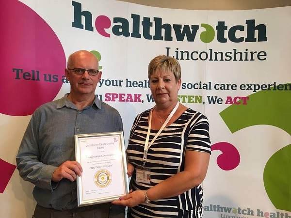 Healthwatch Lincolnshire presented Carers Quality award