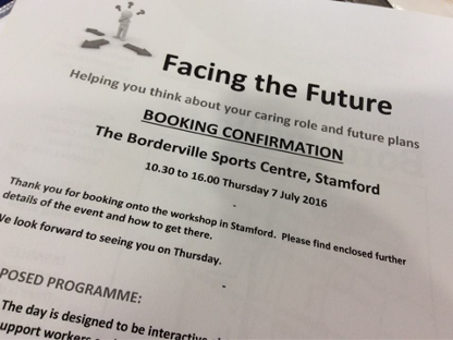 Facing the Future: booking confirmation notice